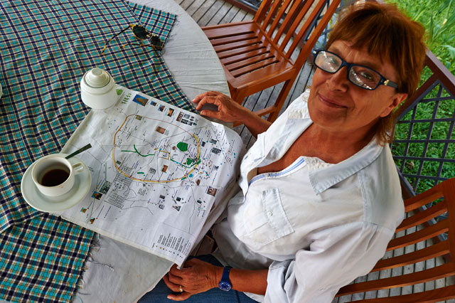 Patrizia Zolese enjoys a coffee while explaining her work. The Italian spends much of her time in Laos, Vietnam and Myanmar, developing conservation themes and digging methods