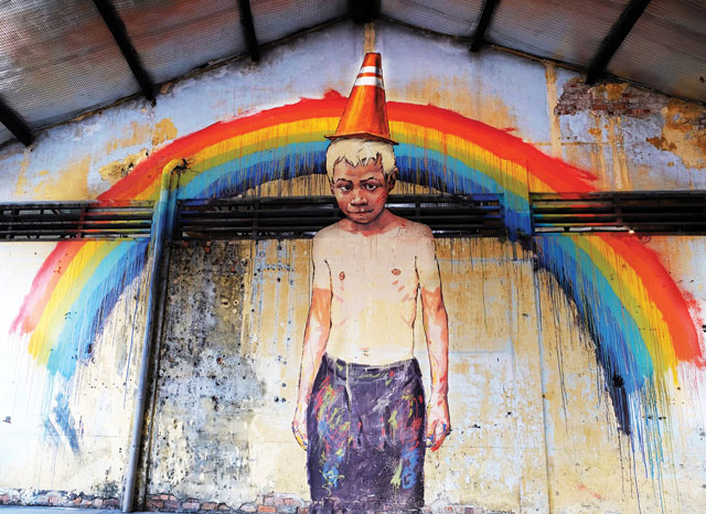 Over the rainbow:a mural from Ernest Zacharevic's first solo show called Art is Rubbish, which opened in January