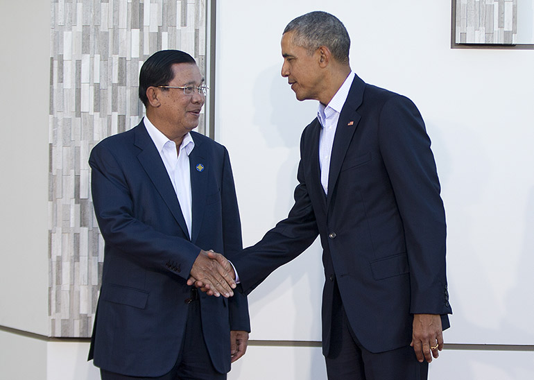 Hun Sen and Barack Obama