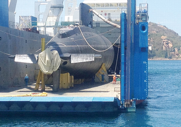A submarine made by Russia for Vietnam is released into the sea south of Hanoi