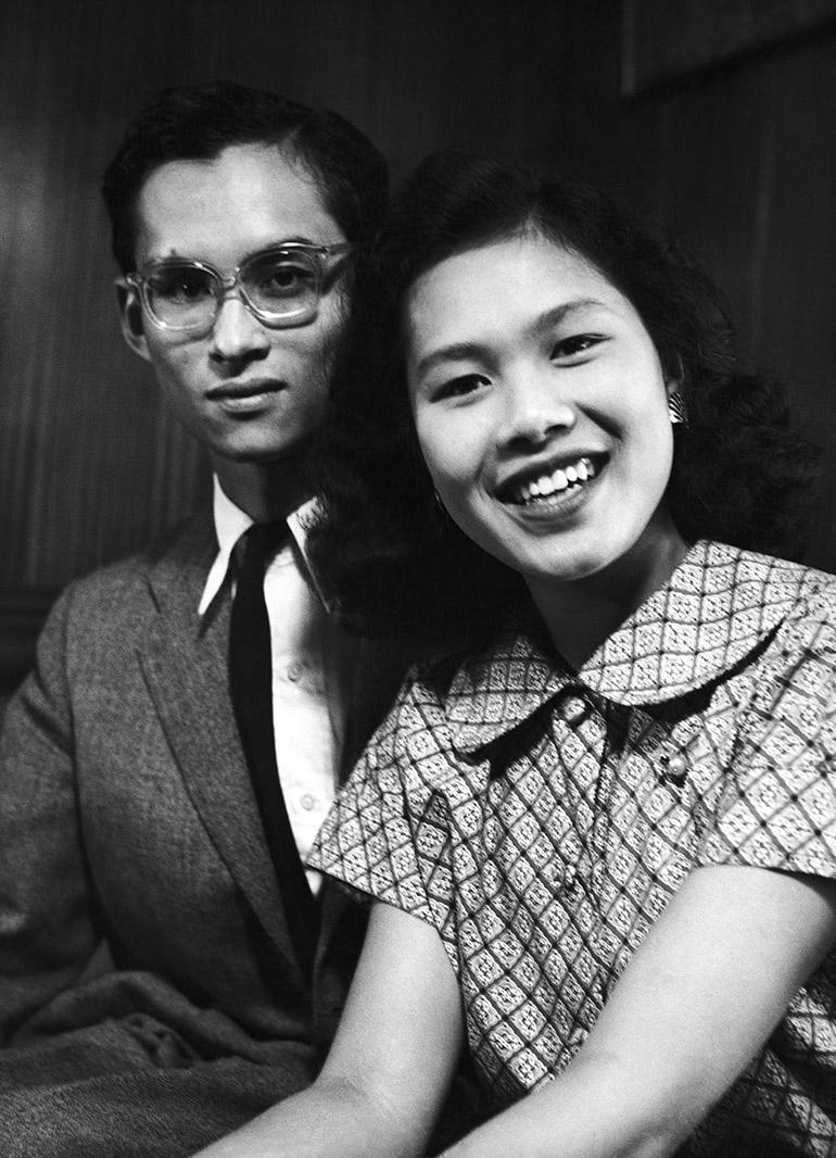 King Bhumibol Adulyadej of Thailand and his fiance, Princess Sirikit in Lausanne, Switzerland on Sept. 13, 1949