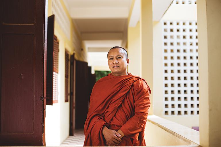 Khy Sovanratana poses for a photograph at Preah Sihanouk Raja Buddhist University in Phnom Penh