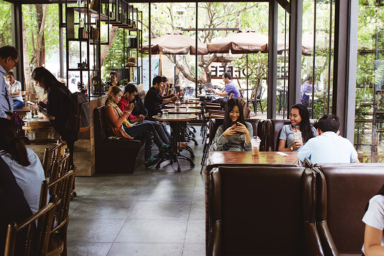 Cambodian chain Brown Coffee has more than 15 stylish cafés, which are popular congregation spots for young people addicted to social media