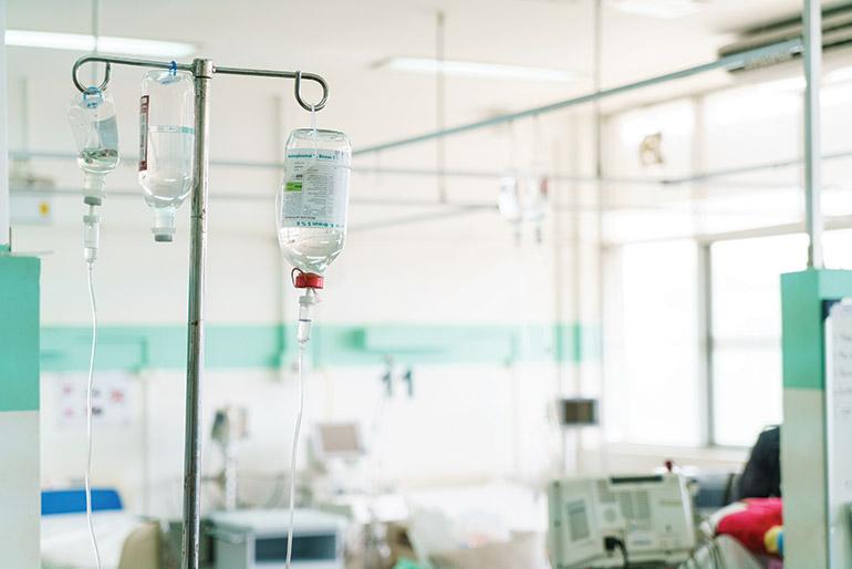 IV drips above a hospital bed at the Khmer Soviet Friendship Hospital in Phnom Penh. Photo: Sam Jam