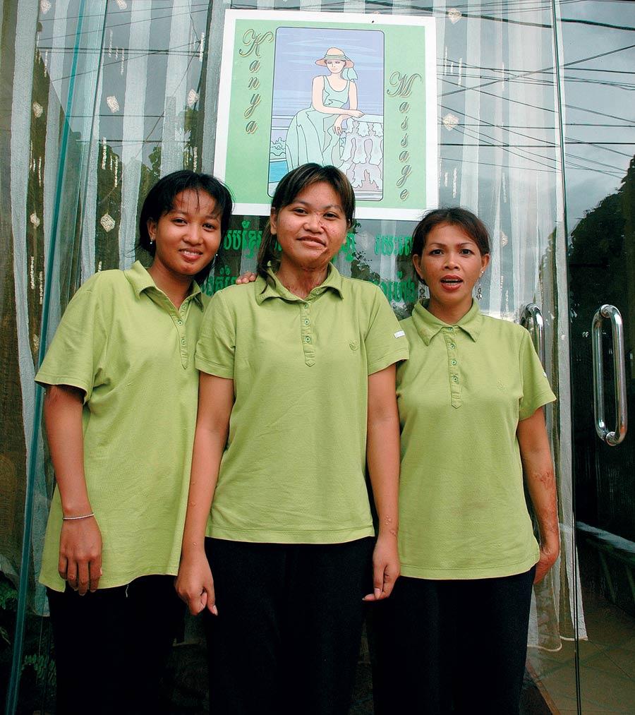 (Left to right) Srey Oun,  Srey Rany, and Srey Sokhom overcame their shared trauma to start the Kanya Massage clinic in Toul Kok, Phnom Penh