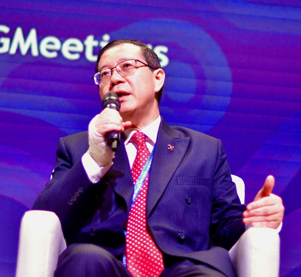 Former Penang Chief Minister and current Malaysian Finance Minister Lim Guan Eng speaking at the 2018 International Monetary Fund/World Bank annual meetings held in Indonesia in October 2018. Photo: Simon Roughneen