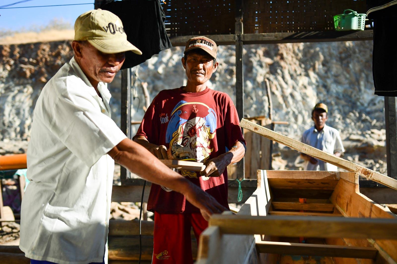 Zubaidi and team at work building fishing boats at Kwangko. Photo: Simon Roughneen