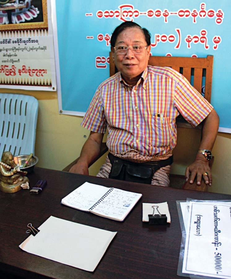 Beautiful beasts: Min Kyaw Khaung believes that white elephants herald a bright future