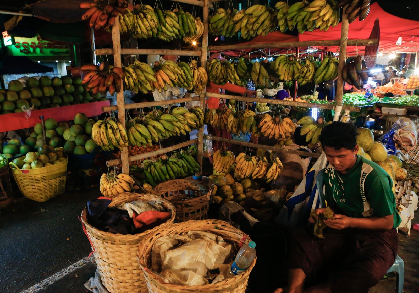 Bananas for sale in Yangon street market. Photo: EPA/Lynn Bo Bo
