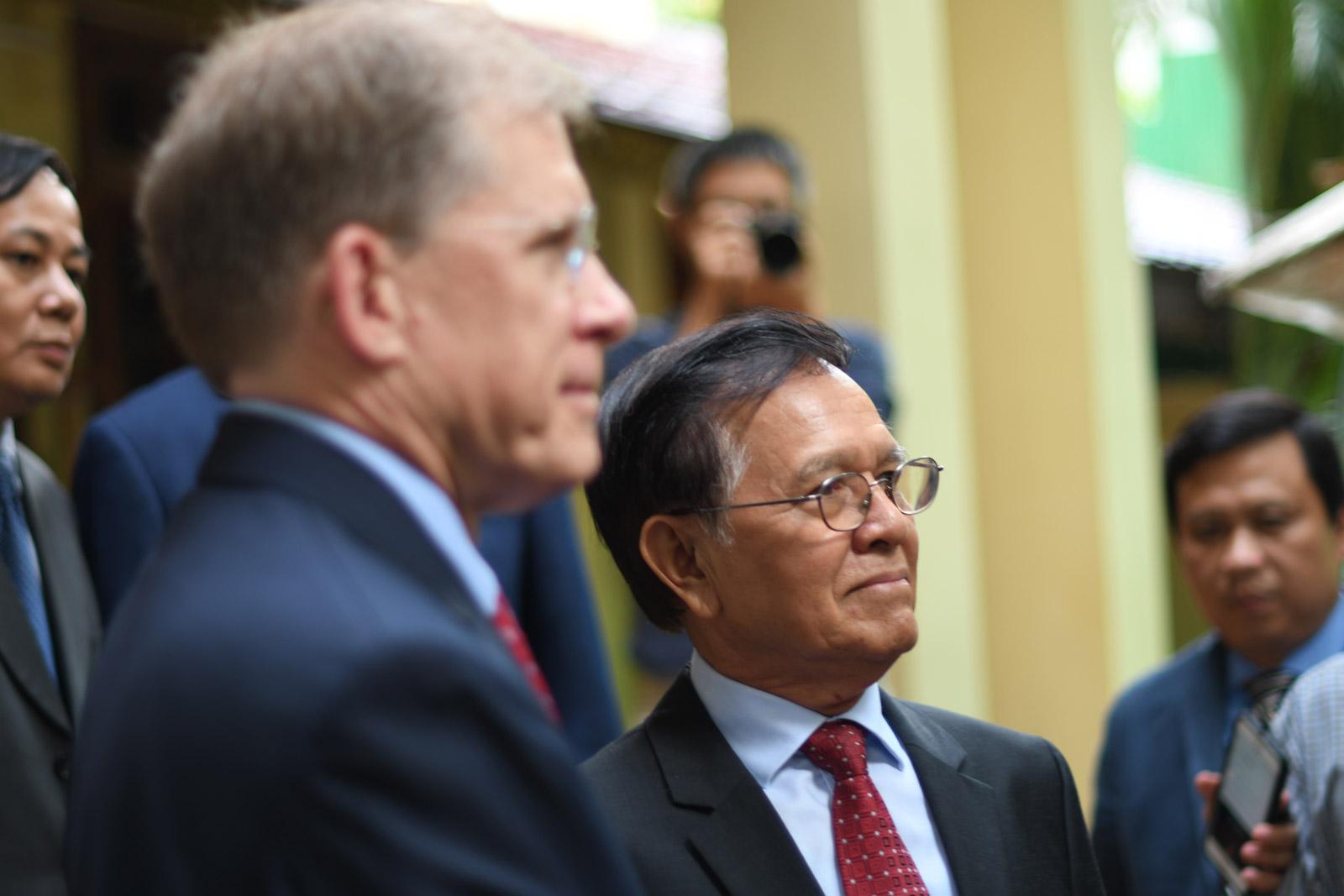 Kem Sokha pictured ahead of his meeting with U.S. Ambassador W. Patrick Murphy (L) on Nov. 11 2019. Photo: Simon Roughneen