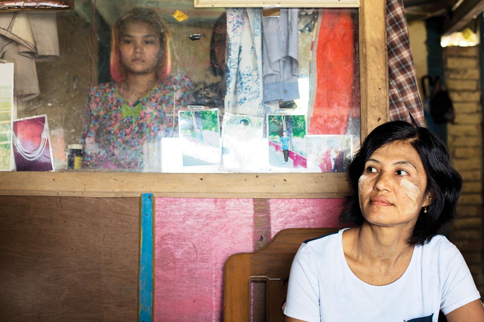 Khin Thein, chair of the local chapter of the Rakhine Women's Network, in her jewellery shop. Photo: Antolín Avezuela Aristu