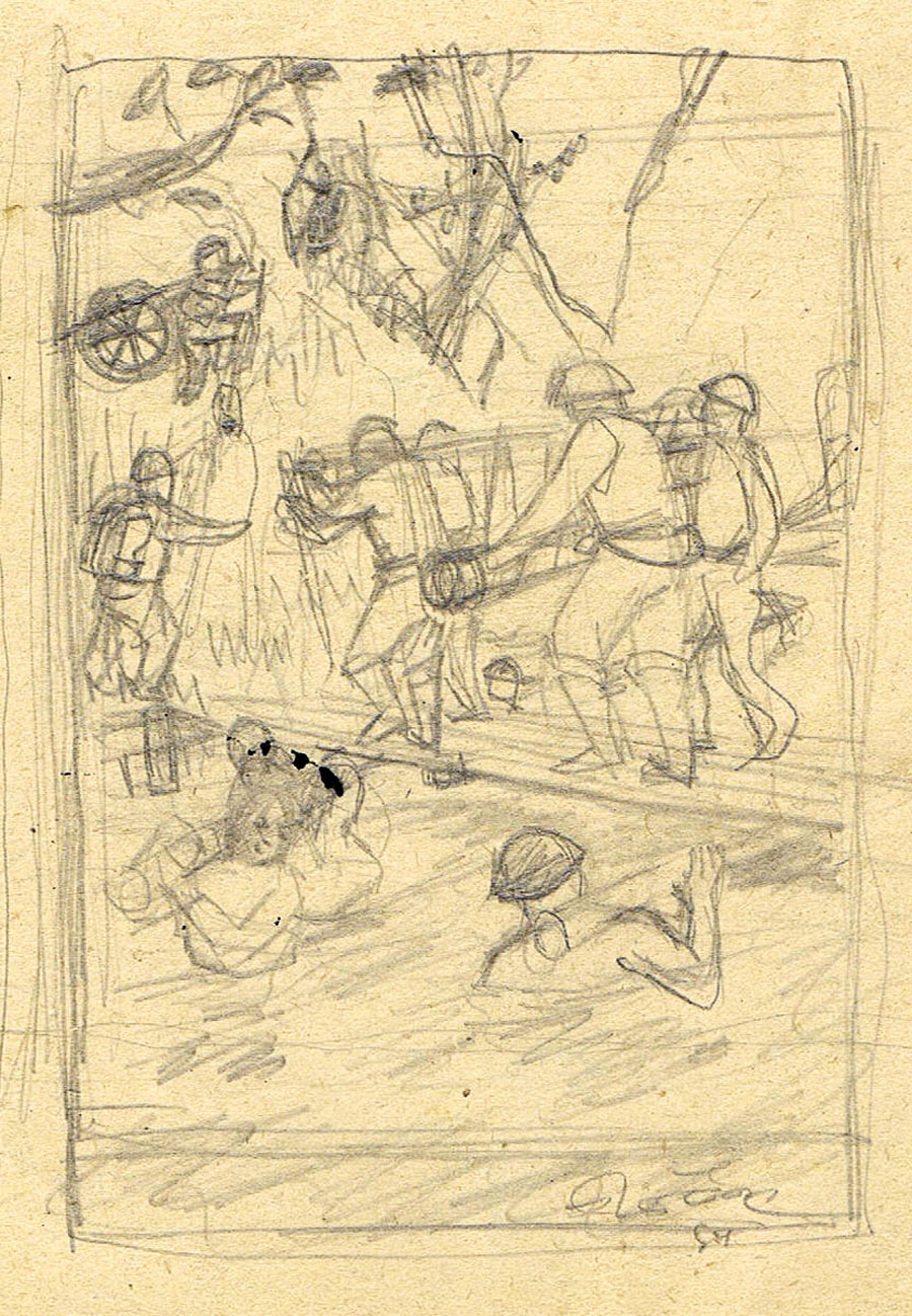 Tam sketch of soldiers carrying artillery across a stream
