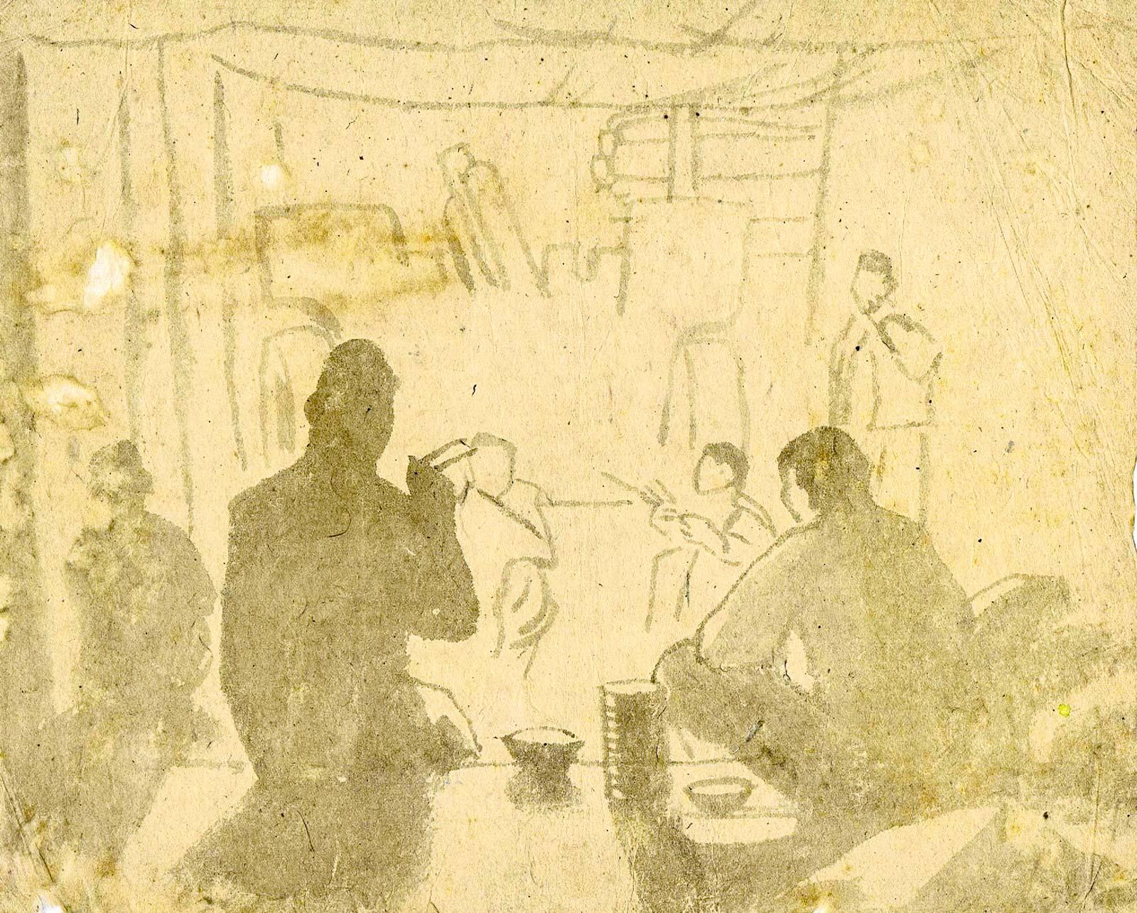 Sketch of soldiers eating in a bunker at Dien Bien Phu