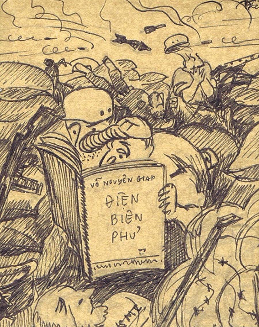 """Cartoon of American GIs reading the Dien Bien Phu """"handbook"""""""