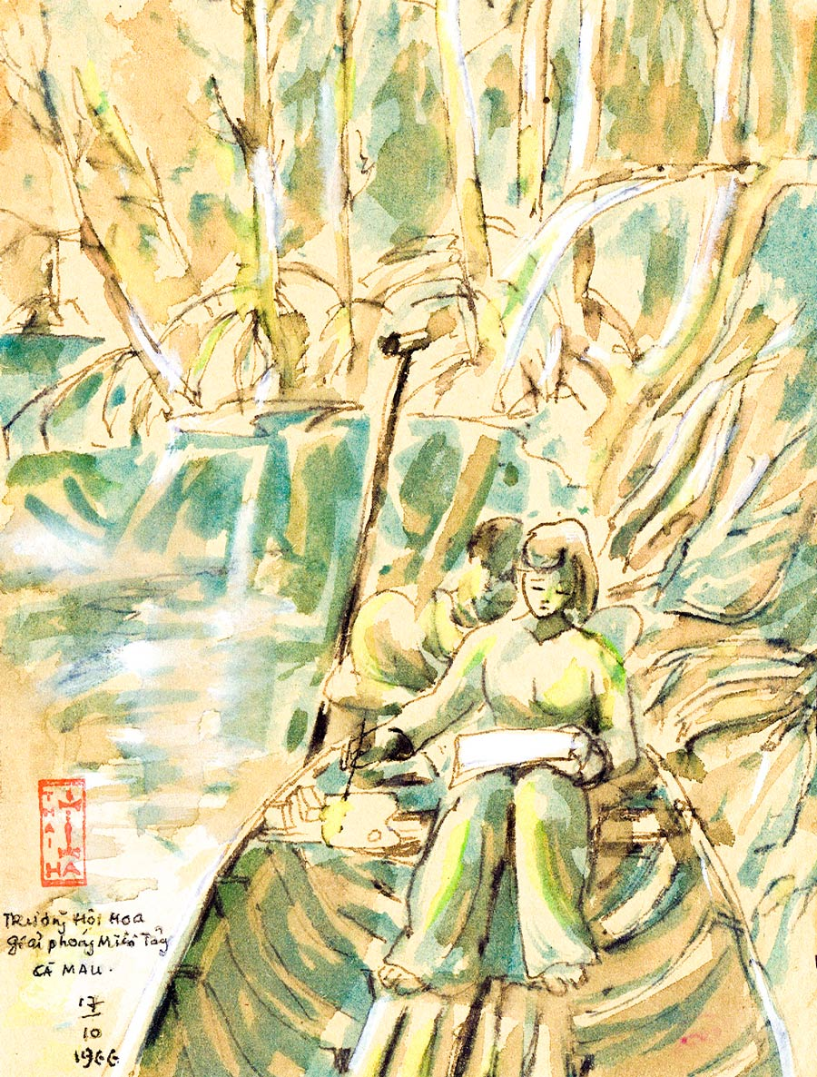 Thái Hà painting of a girl in a boat in a Ca Mau mangrove forest