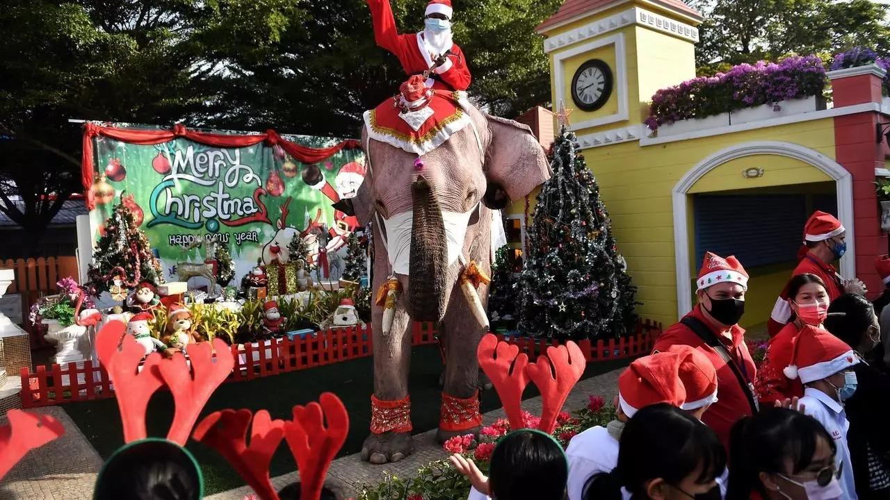 Elephant Santas spread virus awareness among Thai children